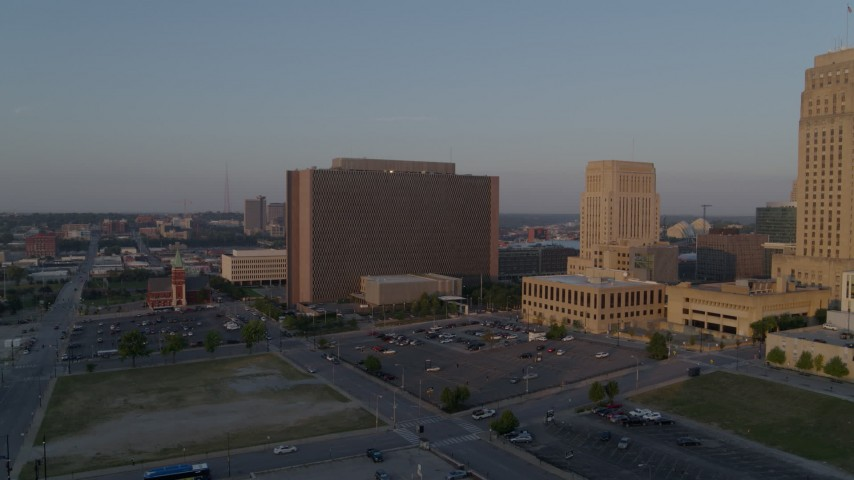 5.7K stock footage aerial video fly away from a government building at sunrise, Downtown Kansas City, Missouri Aerial Stock Footage | DX0001_001207
