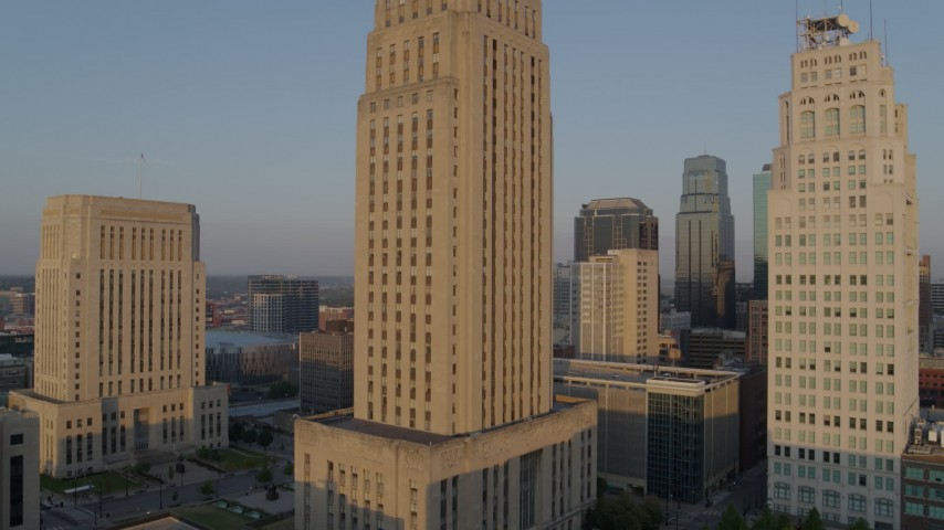 5.7K stock footage aerial video approach city hall at sunrise, Downtown Kansas City, Missouri Aerial Stock Footage | DX0001_001211