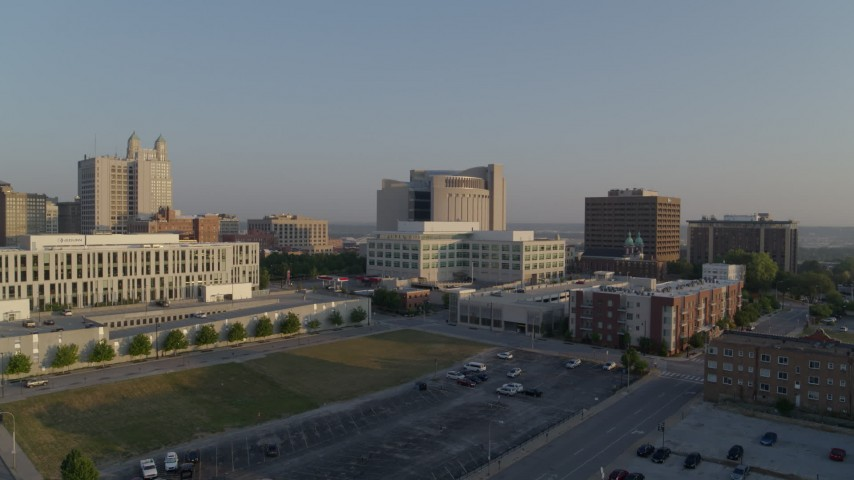 5.7K stock footage aerial video fly away from government offices and federal courthouse at sunrise, Downtown Kansas City, Missouri Aerial Stock Footage | DX0001_001219