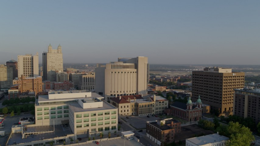 5.7K stock footage aerial video flyby government offices, federal courthouse at sunrise, Downtown Kansas City, Missouri Aerial Stock Footage | DX0001_001226