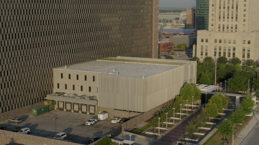 5.7K stock footage aerial video of orbiting a government office building at sunrise, Downtown Kansas City, Missouri Aerial Stock Footage | DX0001_001229