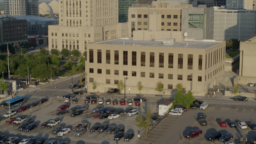5.7K stock footage aerial video slow flyby of the downtown police station at sunrise, Downtown Kansas City, Missouri Aerial Stock Footage | DX0001_001239