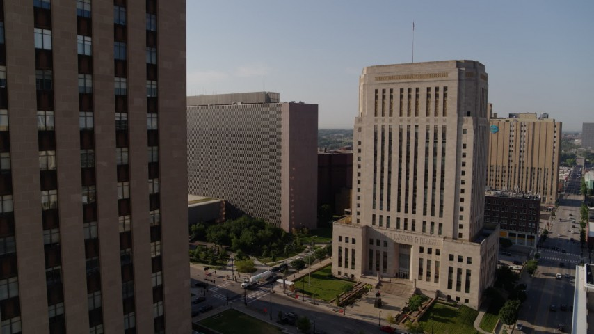 5.7K stock footage aerial video static view of government office building beside courthouse at sunrise, Downtown Kansas City, Missouri Aerial Stock Footage | DX0001_001264