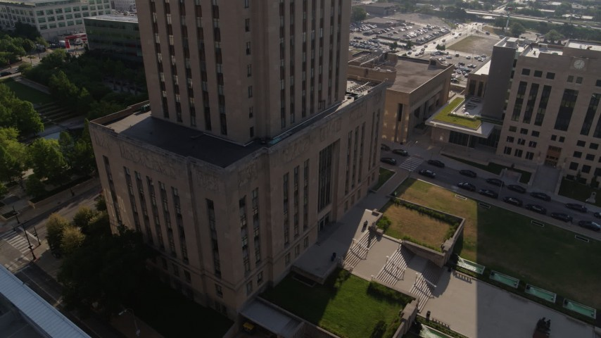 5.7K stock footage aerial video stationary view of city hall's front steps at sunrise, Downtown Kansas City, Missouri Aerial Stock Footage | DX0001_001270