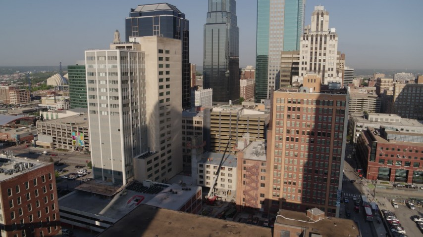 5.7K stock footage aerial video orbit downtown office buildings and high-rises at sunrise, Downtown Kansas City, Missouri Aerial Stock Footage | DX0001_001282