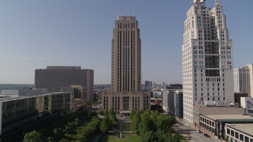 5.7K stock footage aerial video approach city hall and tilt to the entrance in Downtown Kansas City, Missouri Aerial Stock Footage   DX0001_001293
