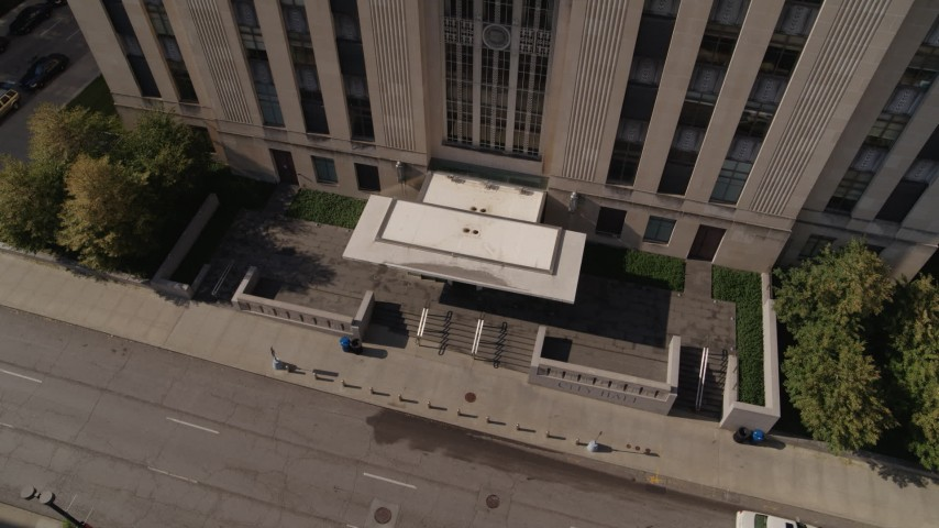 5.7K stock footage aerial video bird's eye view of city hall entrance in Downtown Kansas City, Missouri Aerial Stock Footage | DX0001_001294