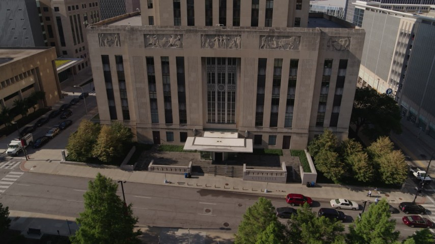 5.7K stock footage aerial video of the city hall entrance in Downtown Kansas City, Missouri Aerial Stock Footage | DX0001_001295