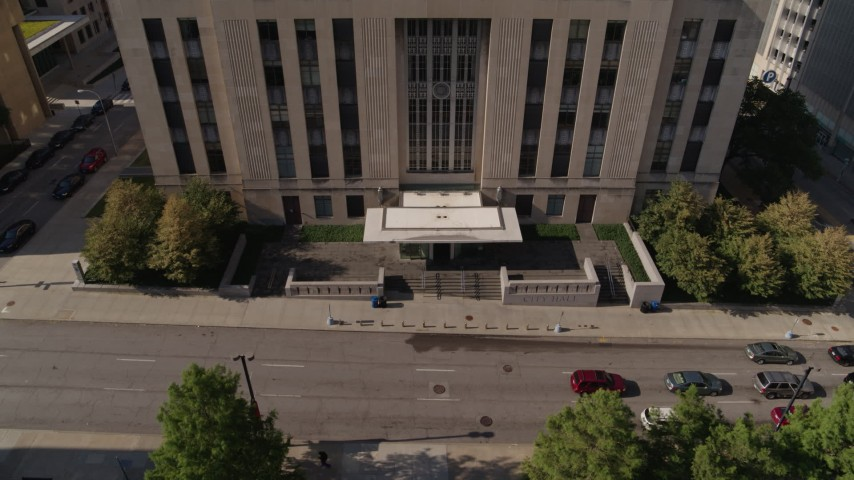 5.7K stock footage aerial video fly away from the entrance to city hall in Downtown Kansas City, Missouri Aerial Stock Footage | DX0001_001299