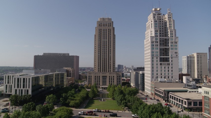 5.7K stock footage aerial video fly over park fountain to approach city hall in Downtown Kansas City, Missouri Aerial Stock Footage | DX0001_001300