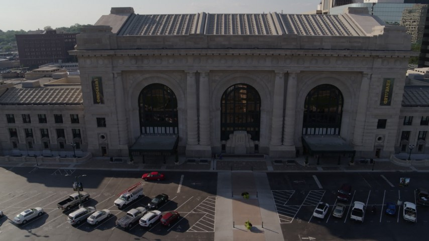 5.7K stock footage aerial video reverse and static view of historic train station in Kansas City, Missouri Aerial Stock Footage | DX0001_001311