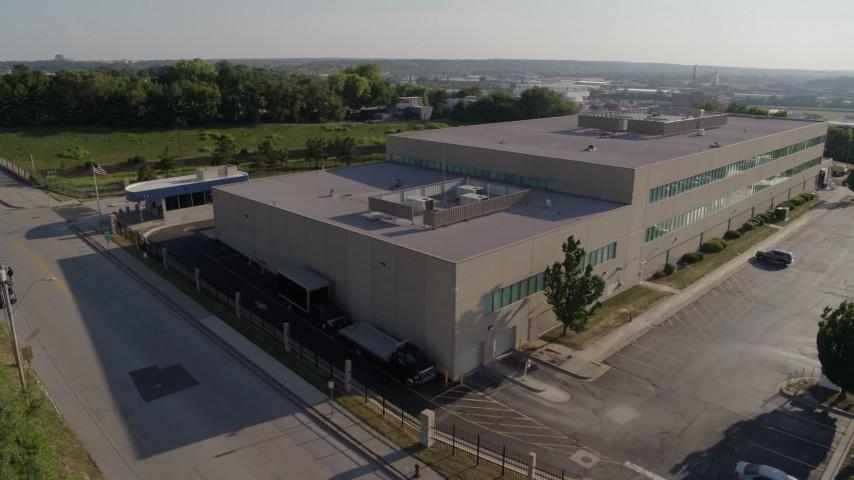 5.7K stock footage aerial video orbit around FBI office building in Kansas City, Missouri Aerial Stock Footage | DX0001_001319