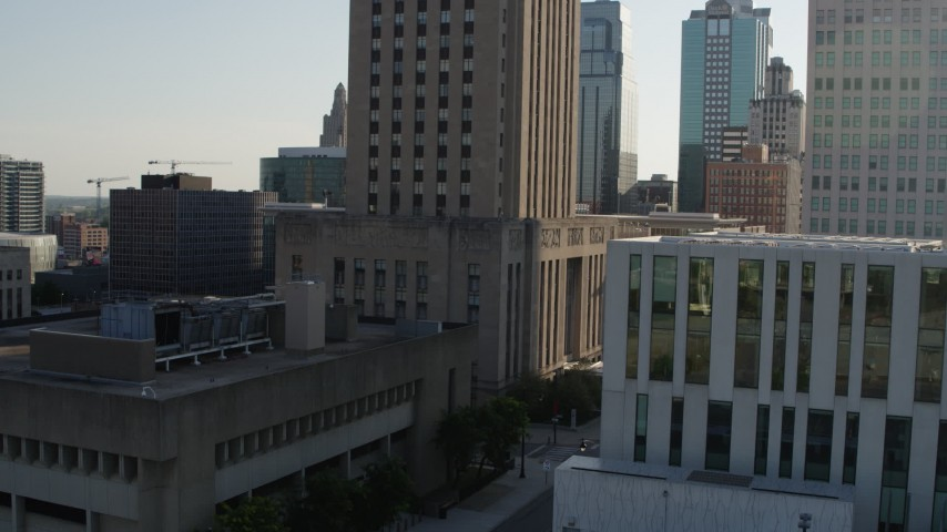 5.7K stock footage aerial video of flying away from city hall in Downtown Kansas City, Missouri Aerial Stock Footage | DX0001_001332