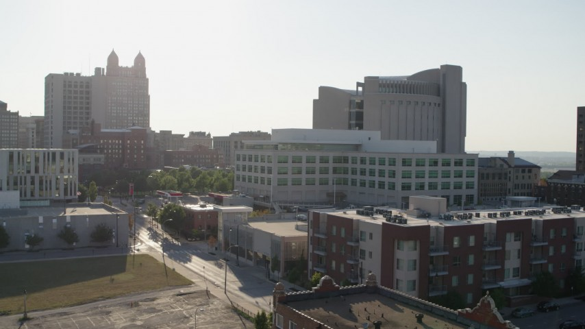 5.7K stock footage aerial video flyby federal courthouse behind office building in Downtown Kansas City, Missouri Aerial Stock Footage | DX0001_001333