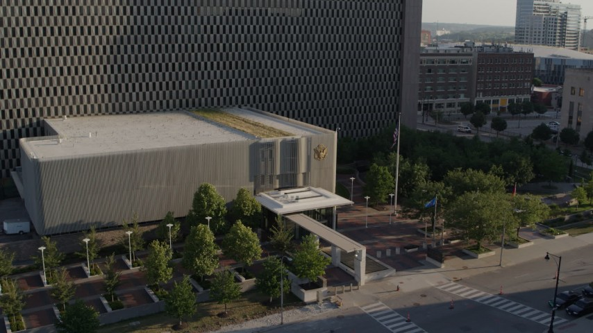 5.7K stock footage aerial video fly away from entrance of government office building in Downtown Kansas City, Missouri Aerial Stock Footage | DX0001_001336