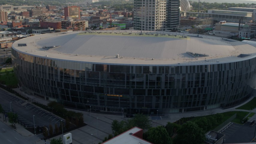 5.7K stock footage aerial video of a close orbit of an arena at sunset in Downtown Kansas City, Missouri Aerial Stock Footage | DX0001_001344