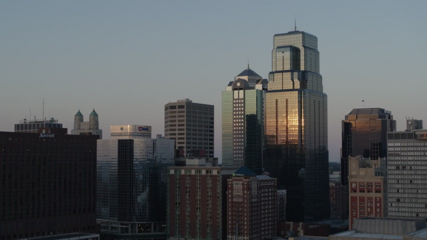 5.7K stock footage aerial video static view and flyby of skyscrapers at sunset in Downtown Kansas City, Missouri Aerial Stock Footage   DX0001_001356