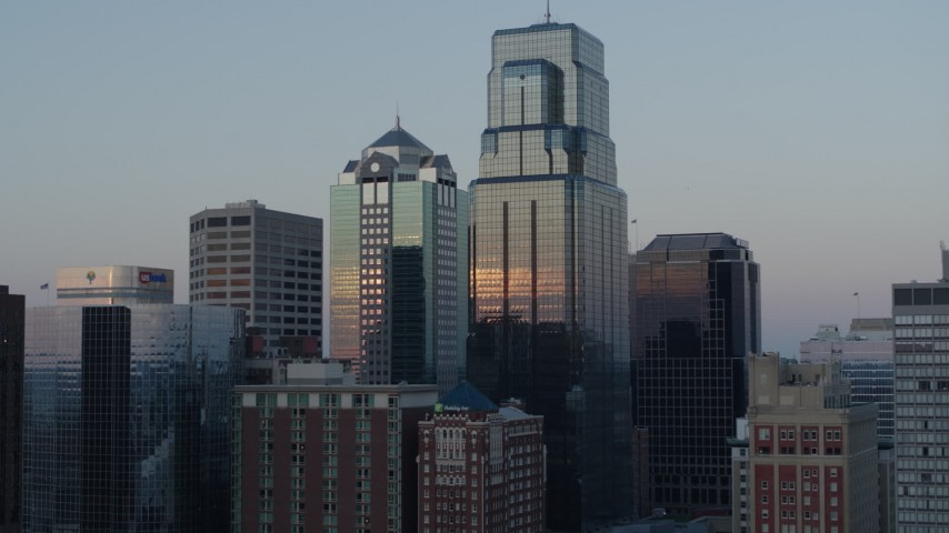 5.7K stock footage aerial video ascend and orbit tall city skyscrapers at sunset in Downtown Kansas City, Missouri Aerial Stock Footage | DX0001_001363