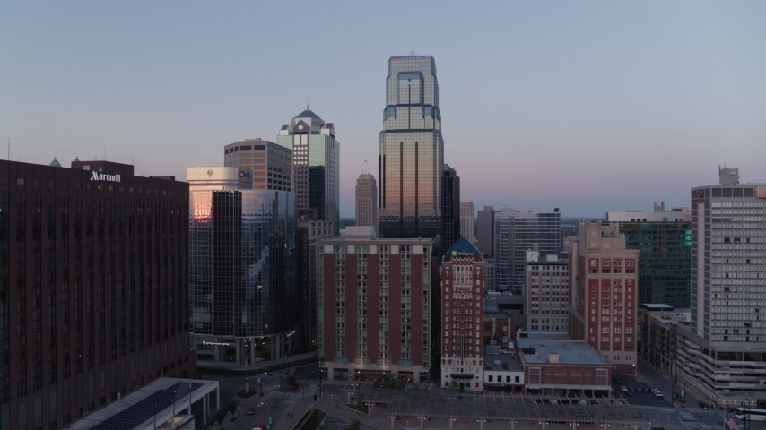 5.7K stock footage aerial video orbit skyscrapers at twilight in Downtown Kansas City, Missouri Aerial Stock Footage | DX0001_001372