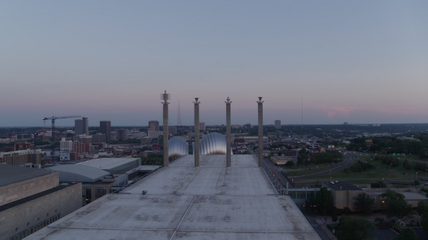 5.7K stock footage aerial video fly over convention center and approach the concert hall at twilight in Downtown Kansas City, Missouri Aerial Stock Footage | DX0001_001376