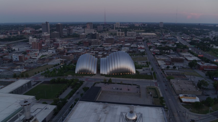 5.7K stock footage aerial video approach the concert hall at twilight in Downtown Kansas City, Missouri Aerial Stock Footage | DX0001_001377