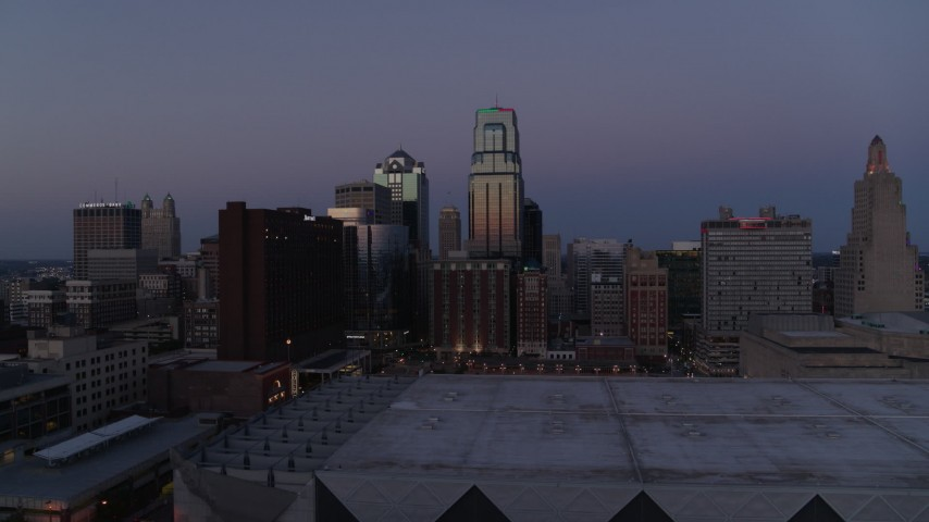 5.7K stock footage aerial video of downtown hotel and skyscrapers at twilight in Downtown Kansas City, Missouri Aerial Stock Footage | DX0001_001388