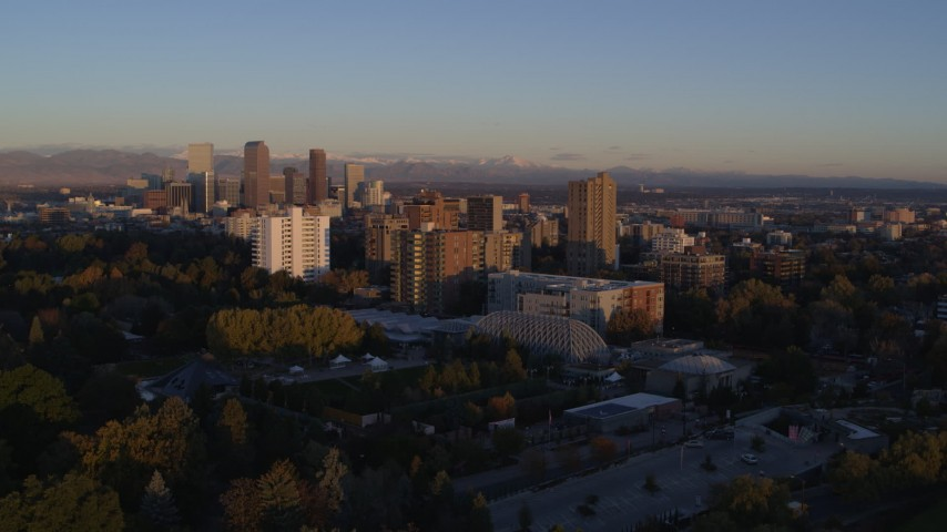 5.7K stock footage aerial video of apartment buildings at sunrise in Denver, Colorado Aerial Stock Footage | DX0001_001399