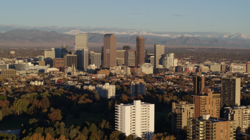 5.7K stock footage aerial video of skyscrapers in Downtown Denver, Colorado at sunrise Aerial Stock Footage | DX0001_001411