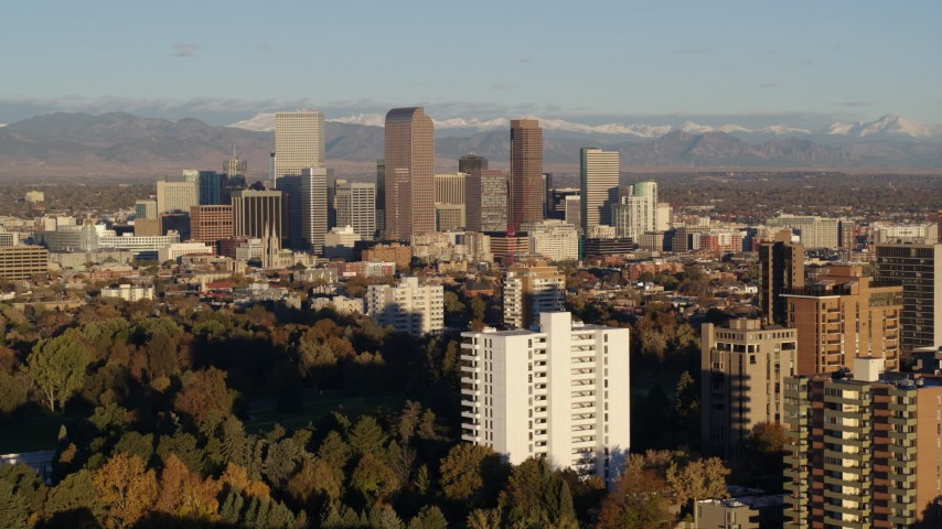 5.7K stock footage aerial video of a view of tall skyscrapers in Downtown Denver, Colorado at sunrise Aerial Stock Footage | DX0001_001420