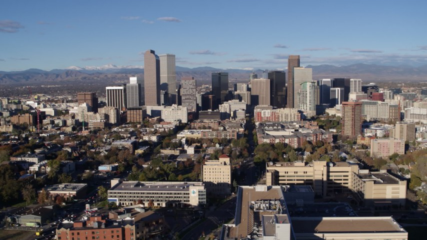 5.7K stock footage aerial video of passing the city's skyscrapers in Downtown Denver, Colorado Aerial Stock Footage | DX0001_001425