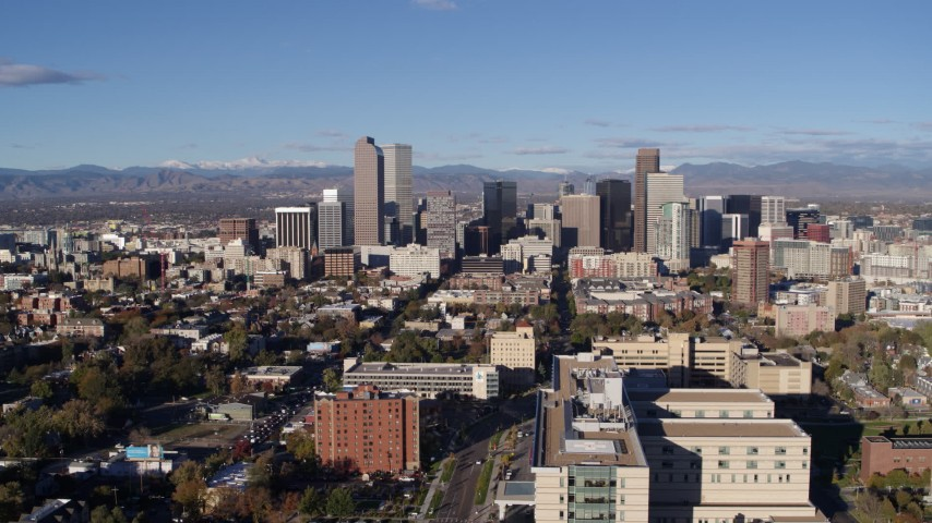 5.7K stock footage aerial video of a stationary view of the city's skyscrapers in Downtown Denver, Colorado Aerial Stock Footage | DX0001_001429