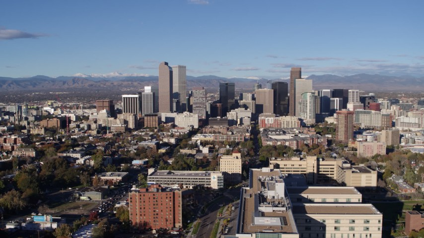 5.7K stock footage aerial video of approaching the city's skyscrapers in Downtown Denver, Colorado Aerial Stock Footage | DX0001_001430