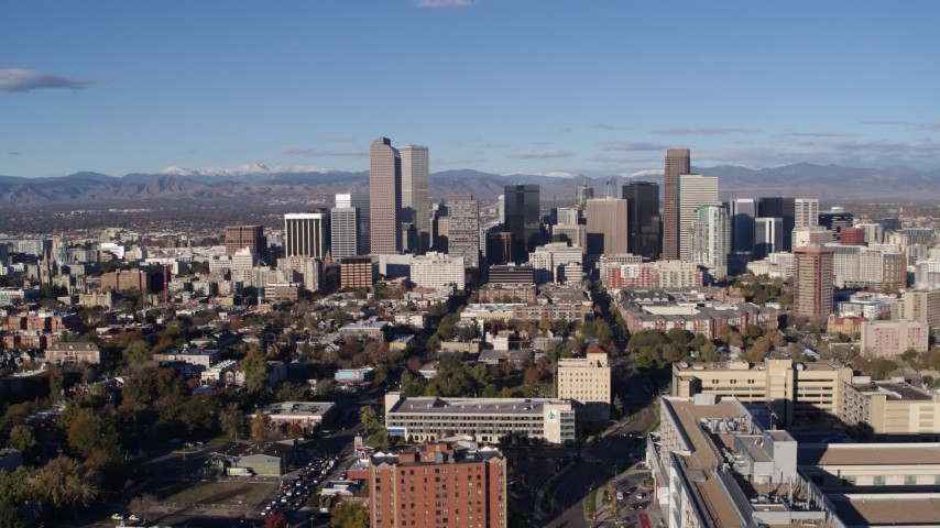 5.7K stock footage aerial video flyby the city's skyscrapers and descend in Downtown Denver, Colorado Aerial Stock Footage | DX0001_001431