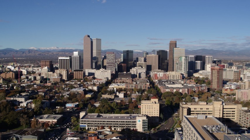 5.7K stock footage aerial video of a slow approach to skyscrapers in Downtown Denver, Colorado Aerial Stock Footage | DX0001_001434