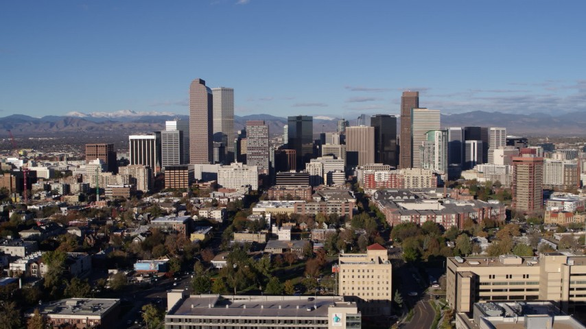5.7K stock footage aerial video of slowly flying away from skyscrapers in Downtown Denver, Colorado Aerial Stock Footage | DX0001_001435