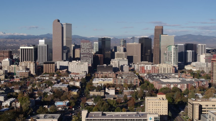 5.7K stock footage aerial video of skyscrapers in Downtown Denver, Colorado Aerial Stock Footage | DX0001_001440