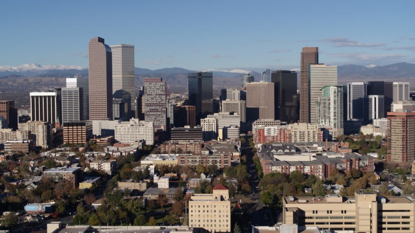 5.7K stock footage aerial video of flying by skyscrapers in Downtown Denver, Colorado Aerial Stock Footage | DX0001_001441