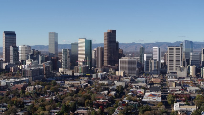 5.7K stock footage aerial video of the city's skyline in Downtown Denver, Colorado Aerial Stock Footage | DX0001_001445