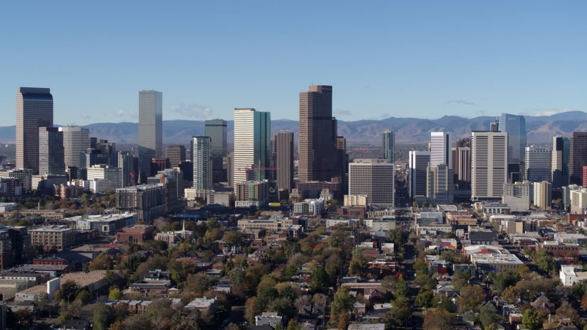 5.7K stock footage aerial video of a reverse view of the city's skyline in Downtown Denver, Colorado Aerial Stock Footage | DX0001_001446