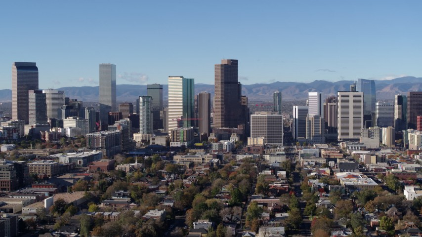 5.7K stock footage aerial video of slowly passing the city's skyline in Downtown Denver, Colorado Aerial Stock Footage | DX0001_001447