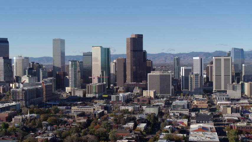 5.7K stock footage aerial video of slowly approaching the city's skyline in Downtown Denver, Colorado Aerial Stock Footage | DX0001_001448