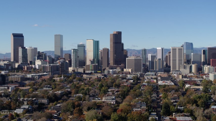 5.7K stock footage aerial video flyby and approach the city's skyscrapers in Downtown Denver, Colorado skyline Aerial Stock Footage | DX0001_001452