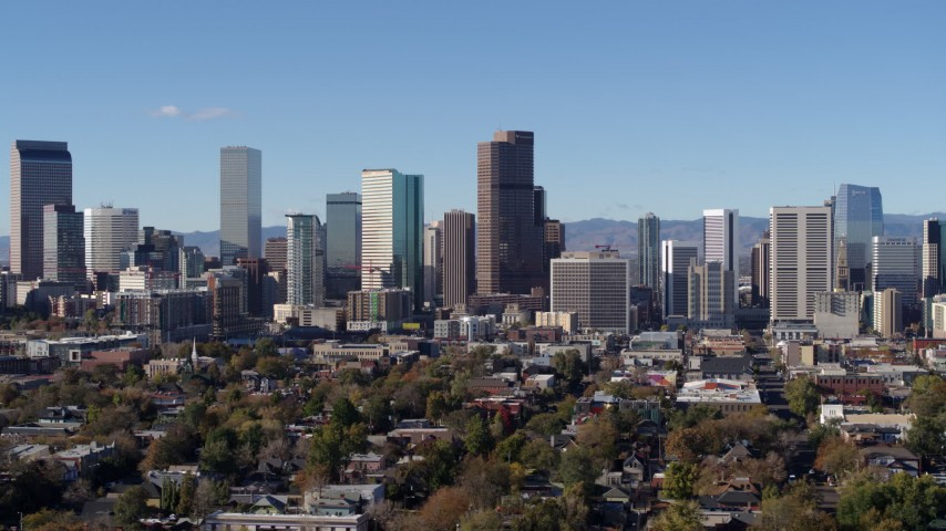 5.7K stock footage aerial video of a view of skyscrapers in skyline of Downtown Denver, Colorado Aerial Stock Footage DX0001_001453 | Axiom Images