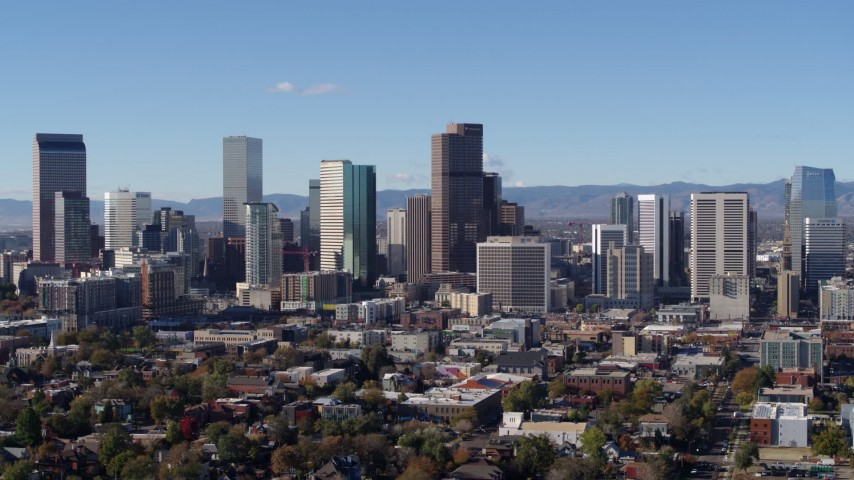5.7K stock footage aerial video of a view of skyscrapers in skyline of Downtown Denver, Colorado Aerial Stock Footage | DX0001_001454