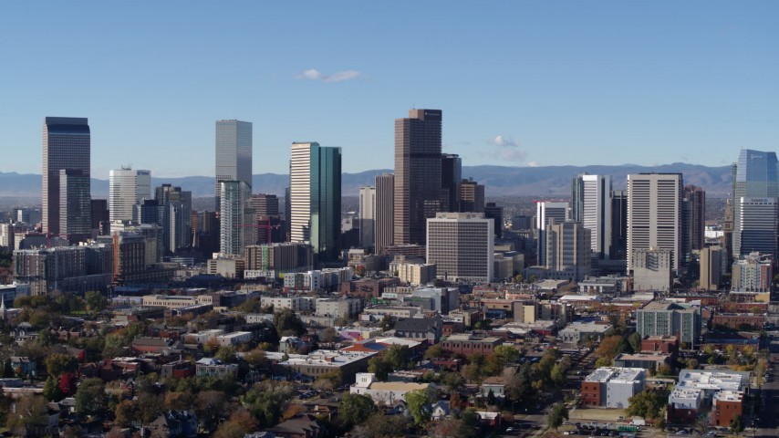 5.7K stock footage aerial video flyby skyscrapers in skyline of Downtown Denver, Colorado Aerial Stock Footage | DX0001_001455