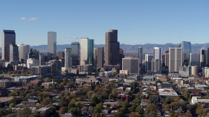 5.7K stock footage aerial video flying by skyscrapers in Downtown Denver, Colorado skyline Aerial Stock Footage | DX0001_001456