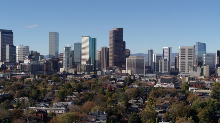 5.7K stock footage aerial video of skyscrapers in Downtown Denver skyline, Colorado, seen during slow descent Aerial Stock Footage | DX0001_001461