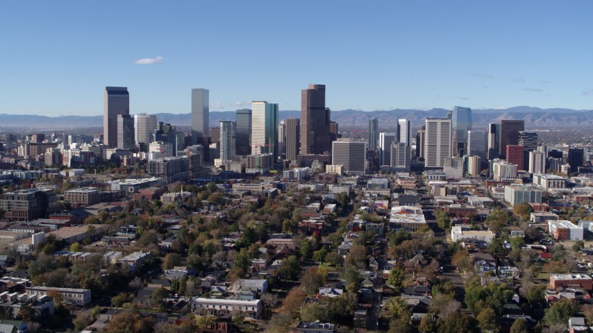 5.7K stock footage aerial video of a slow pass by skyscrapers in Downtown Denver skyline, Colorado Aerial Stock Footage | DX0001_001463