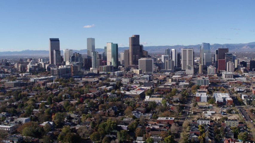 5.7K stock footage aerial video of a slow flyby of skyscrapers in Downtown Denver skyline, Colorado Aerial Stock Footage DX0001_001464 | Axiom Images