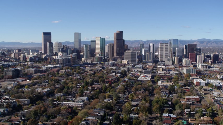 5.7K stock footage aerial video of a stationary and reverse view of the skyline of Downtown Denver, Colorado Aerial Stock Footage | DX0001_001466